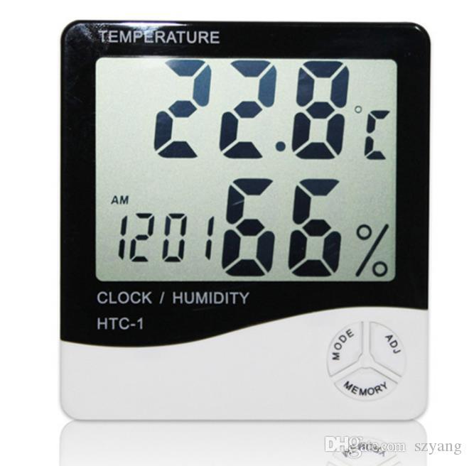 HTC-1 Haute précision LCD Numérique Thermomètre Hygromètre Intérieur Électronique Température Humidité Compteur Horloge Alarme Station Météo 50 pcs DHL