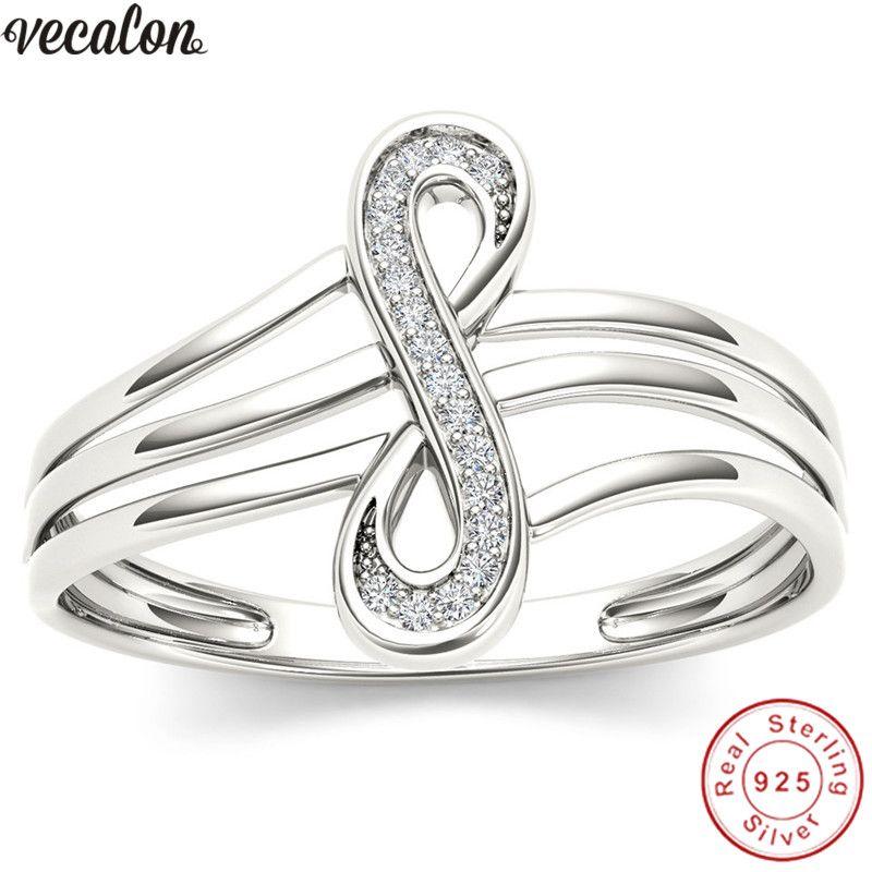 Vecalon musical not Real Soild 925 Sterling Silver Promise ring cross Engagement wedding Band rings for women men Finger jewelry