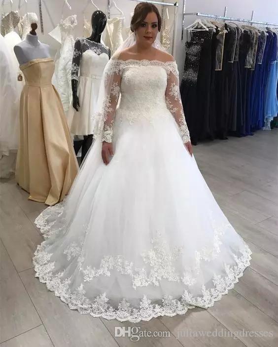 2020 Tallas grandes Vestidos de novia Desfilado Hombro Manga Larga Bateau Bateau Batas Vestidos de novia Apliqueada Princesa Vestidos nupciales QC1075