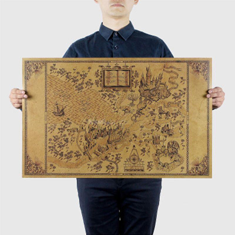 Карта мира волшебников из фильма постеры Украшение бескаркасные Восстановление древних способов стены стикеры 33 * 51CM