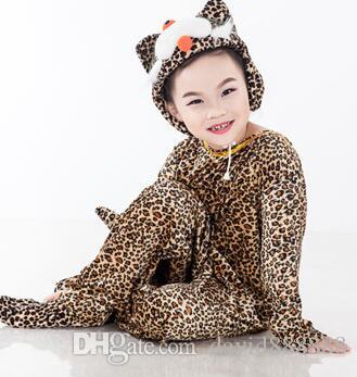 Novo estilo do 2018 crianças cosplay leopardo cinza lobo branco frango adequado para meninos e meninas traje de palco estilo longo dançando vestir