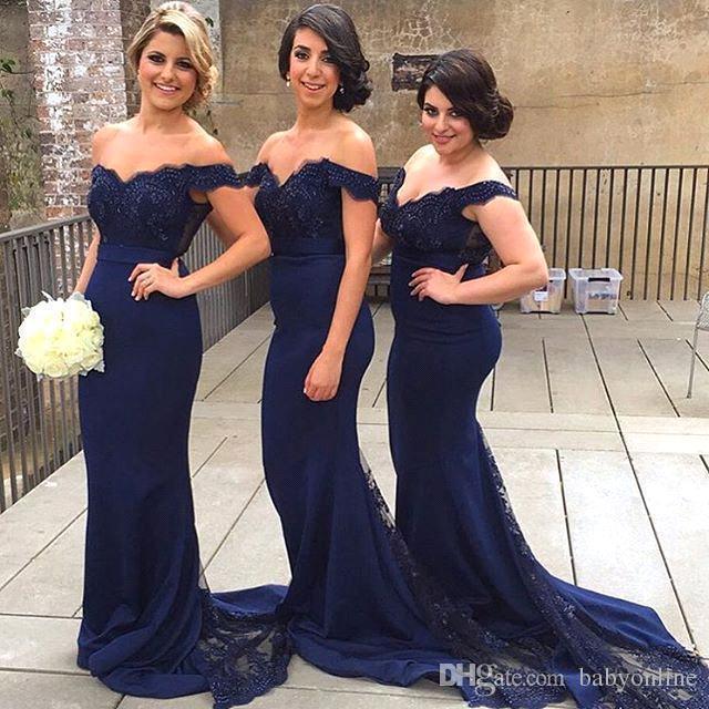 2019 marinho escuro elegante vestidos formais longos para mulheres rendas fora de ombro sereia varrer trem espartilho espartilho vestidos ba1874