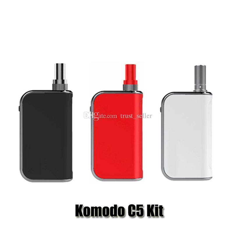 100% Original Komodo C5 kit Built-in 400mAh Preheat VV Battery Vape Box Mod 1.0ml Liberty V1 Thick Oil Cartridge Tank