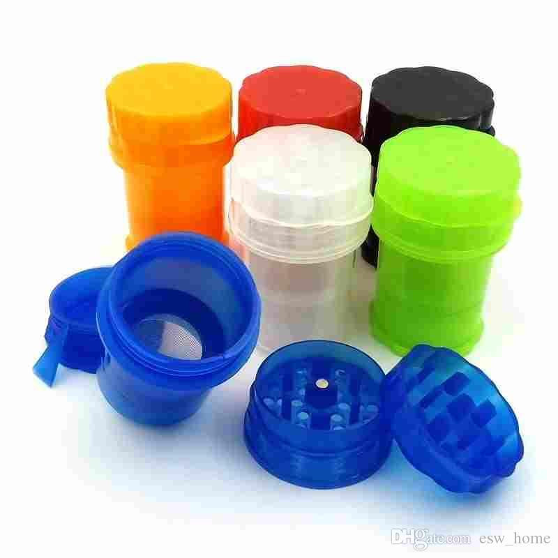 플라스틱 분쇄기 물 꽉 공기 꽉 의료 학년 플라스틱 냄새 증거 허브 플라스틱 케이스 3 레이어 분쇄기 35mm 싸구려 병 모양