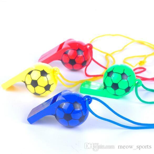 Colorido Apito De Futebol De Plástico Copa Do Mundo Fãs Torcida Brinquedos Partido Atlético Carnaval Adereços Brinquedo Cheerleading Apito