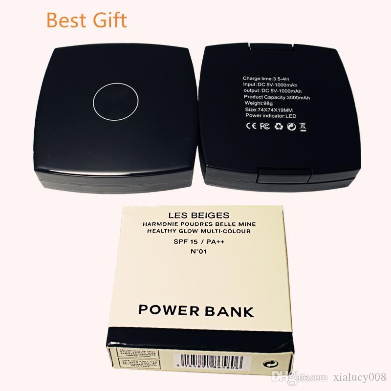 Mirror Power Bank Usb 3000mAh Powder Compact Cosmetic Mirror Lipstick power bank usb output for iphone 8 Cool Gift Chargers Logo