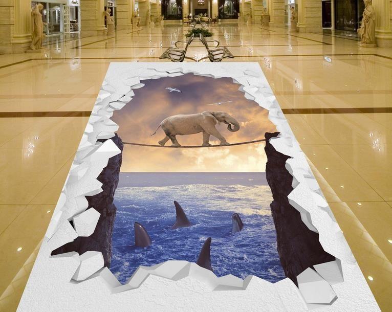 Wunderbar Boden Tapeten Für Wohnzimmer Elephant Nehmen Das Meer Klippe Im Freien 3D  Dreidimensionale Malerei Vinyl  ...
