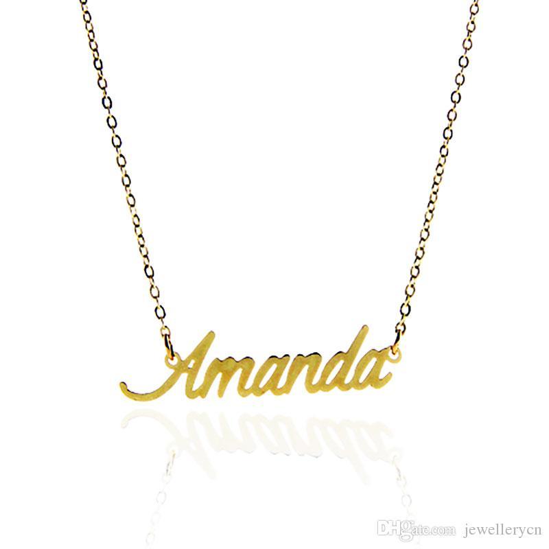 """شعبية اسم قلادة المرأة شخصية لوحة قلادة رسائل """"أماندا"""" الفولاذ المقاوم للصدأ الذهب والفضة قلادة مخصصة ، NL-2395"""