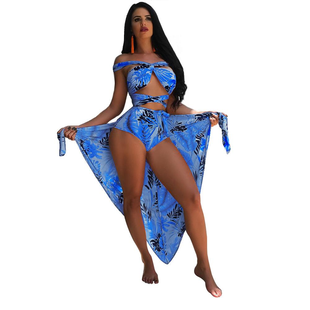 Seaside Sexy Bikini Set Leaf Imprimé Femme Foulard / Blouse + Maillot de bain Sexy Strap Bikini Split S-XL Violet / Bleu / Rouge / Orange