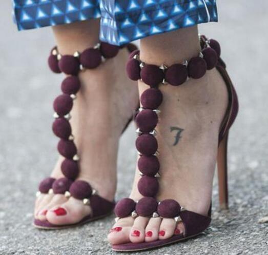 2018 Latest Women Dress Flock Ball Embellished Rivet Crystal Decoration Zipper Sandals Slip-On High Heels 11 CM Sandals Lady Sexy Shoes