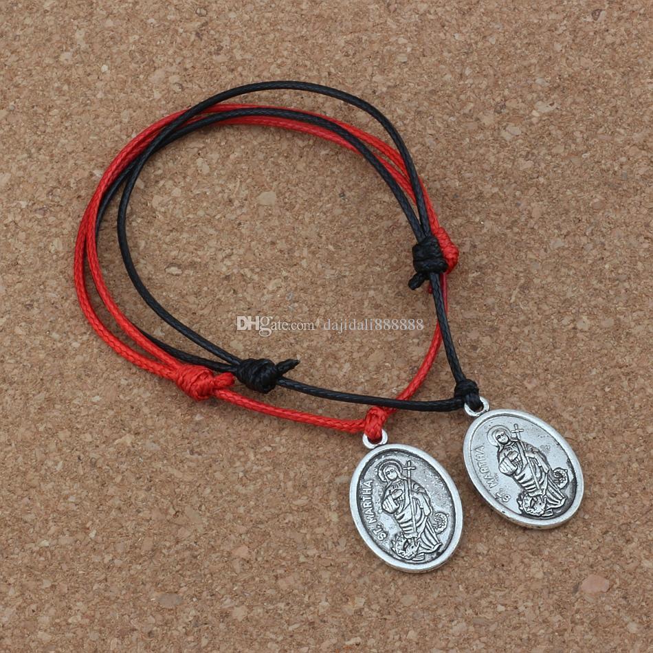 10PCS / lots ST. MARTHA Colgante ajustable Kabbalah Corea pulseras de algodón encerado (rojo negro) B-249