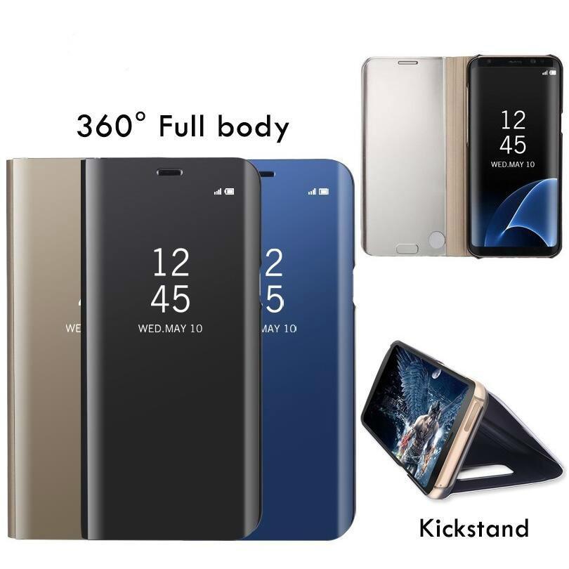 إلى Samsung Note 9 J3 J5 J6 J7 2017 J8 J3 J4 J6 2018 Prime case Samsung Galaxy S9 S8 Plus S7 edge Clear View Mirror Smart Cases