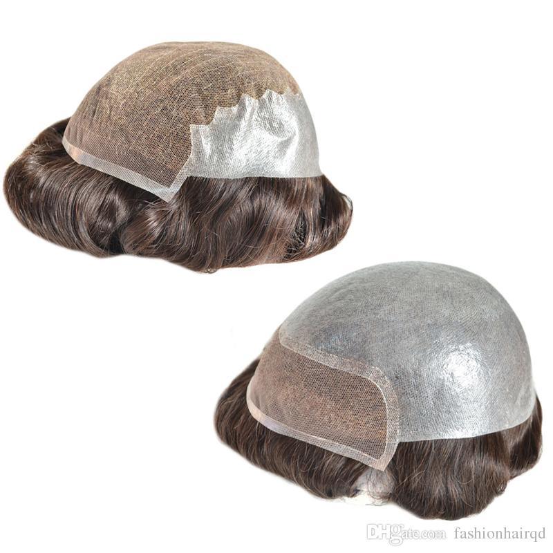 Top Quality Human Hair Toupee For Men 6 inch Indian Virgin Hair Swiss Lace PU Men's Wigs
