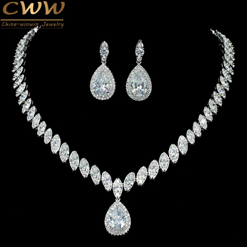 CWWZircons High Quality Cubic Zirconia Wedding Necklace And Earrings Crystal Bridal Jewelry Sets For Bridesmaids T109