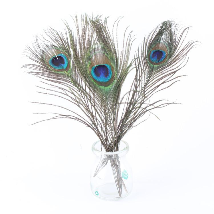 peacock feathers length 25-30 CM beautiful natural peacock feather Diy jewelry Decorative Deco fittings c652