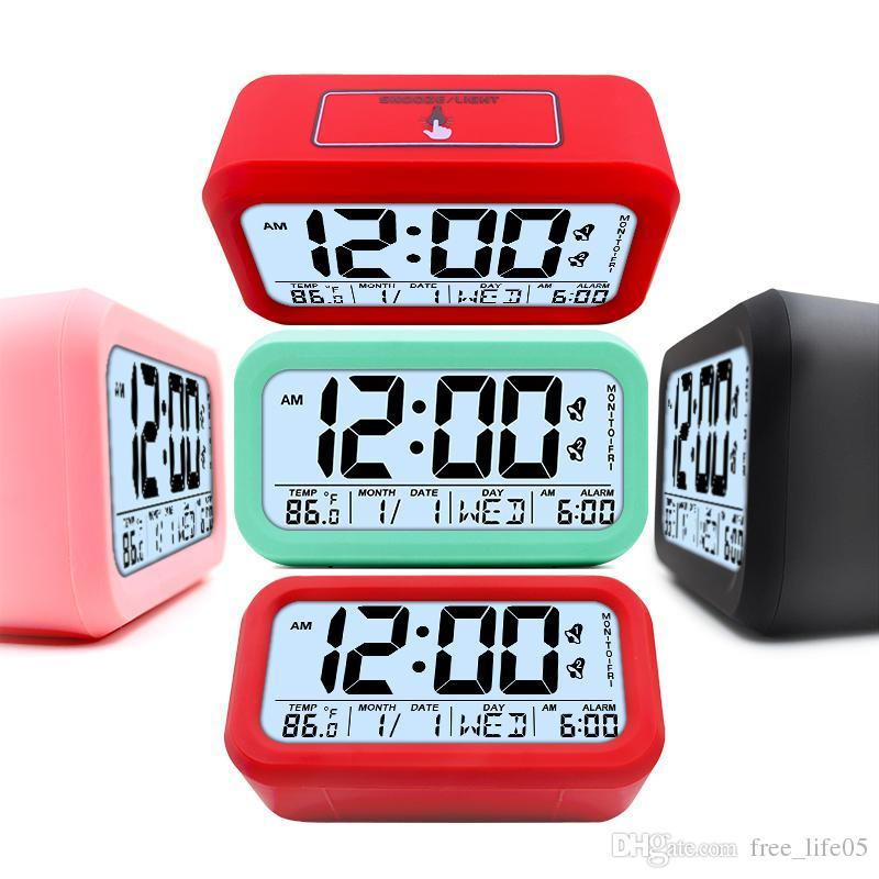 Digital Alarm Clocks Student Clock Large LCD Display Snooze Electronic Kids Clock Light Sensor Nightlight Office Table Clocks