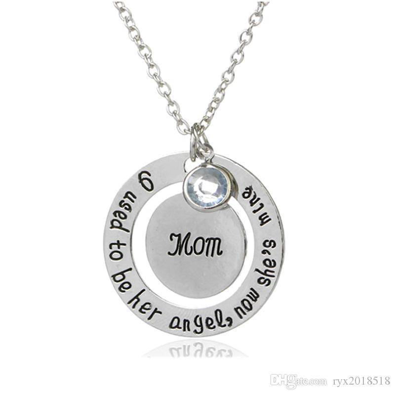 Nuovo design lettera papà e mamma ciondolo collana gioielli moda giorno padre festa della mamma regali all'ingrosso