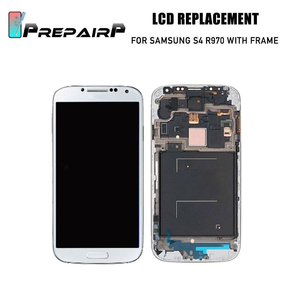 Samsung Galaxy S4 Ekran Için yedek R970 L720 I545 LCD ekran Ücretsiz araçları ile Ekran Dokunmatik Ekran Digitizer kiti