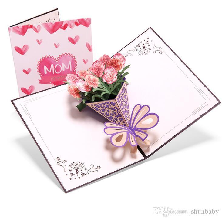 بطاقات معايدة عيد الأم ثلاثية الأبعاد ثلاثية الأبعاد باقة من القرنفل بطاقات تهنئة بعيد الميلاد اليدوية الإبداعية مع مغلف 2021 من Shunbaby 19 03ر س موبايل Dhgate