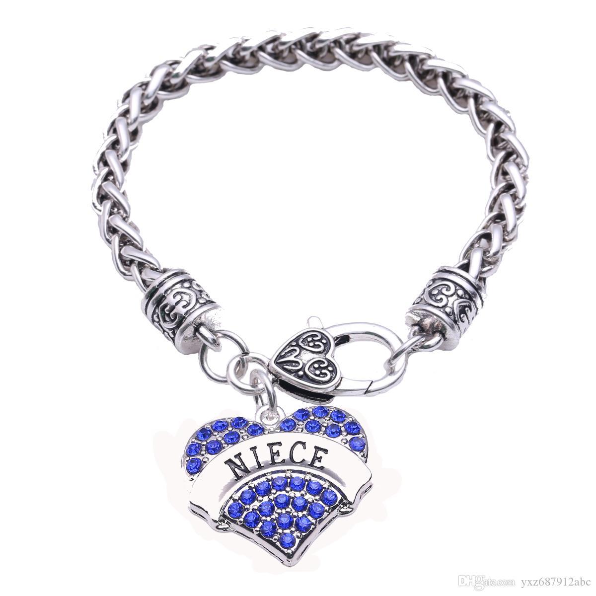 رسائل لطيف الأزياء قلب الحب الروديوم مطلي مع بلورات متألقة سحر أساور للمرأة المجوهرات هدية
