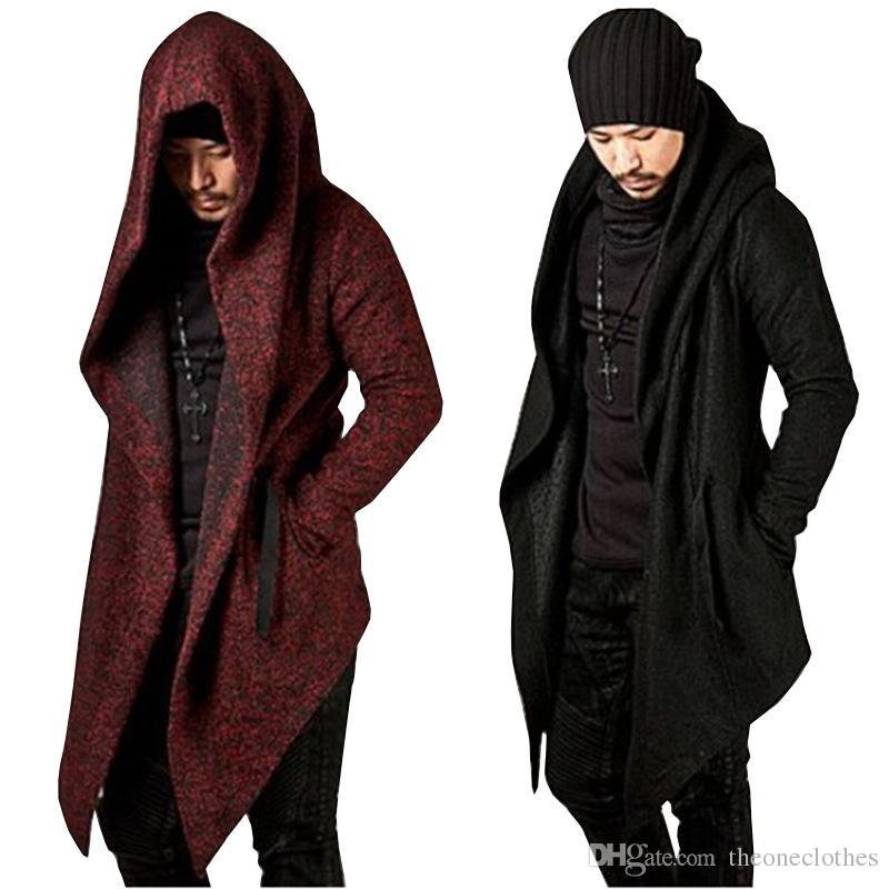 Мужчины с капюшоном плащ пальто хип-хоп асимметричная длина куртка с длинным рукавом осень плащ Мужские пальто и пиджаки черный красный прохладный сплошной цвет уличной