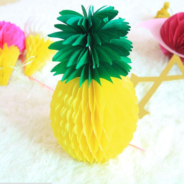 Wholesale 1 PCS 27cm Pineapple Honeycomb Balls Decor Hawaiian Party Decorations Wedding Bridal Baby Shower Party Favor