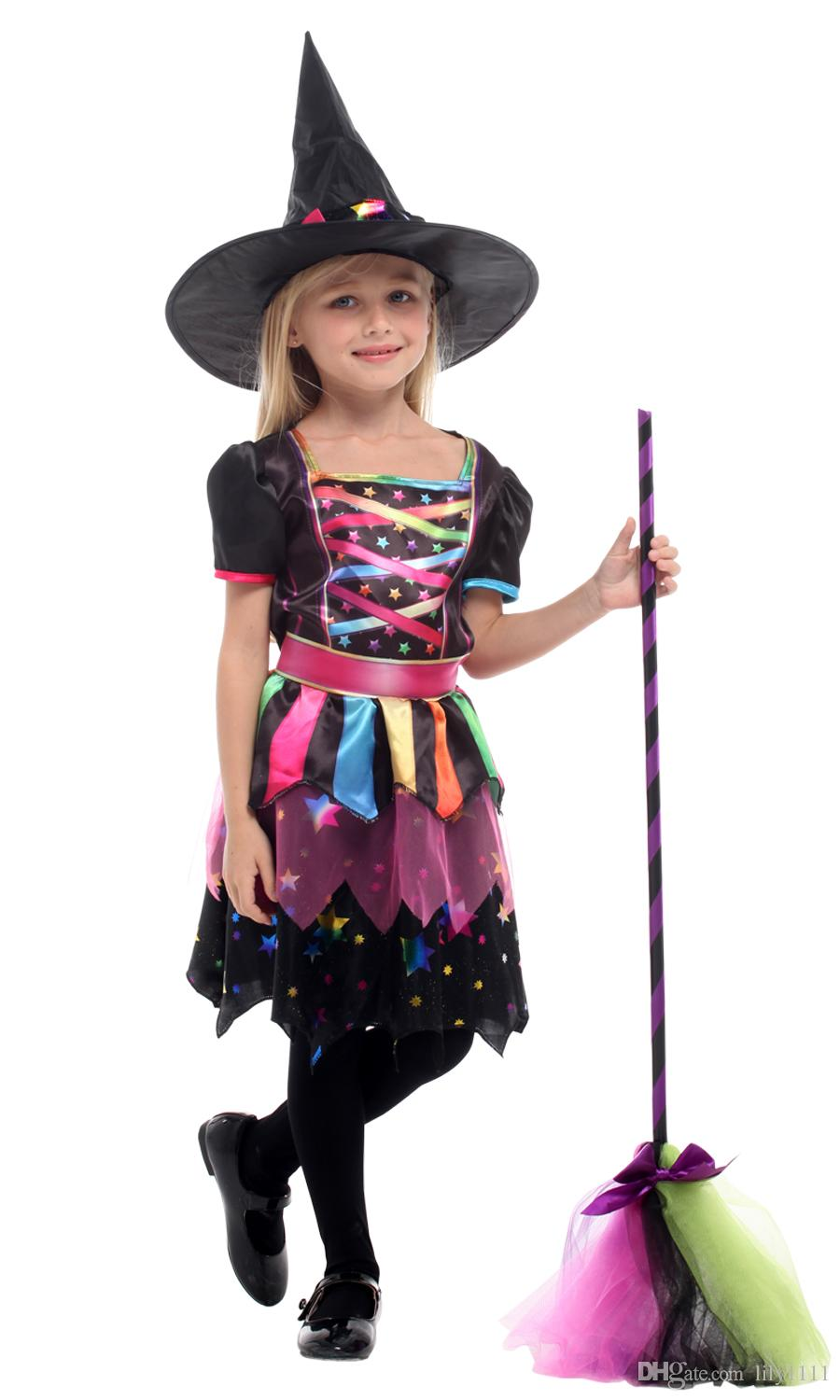 Shanghai Story Halloween Witch Dress for Kids Girls Christmas Carnival Masquerade Children Magician Wizard Cosplay Costumes