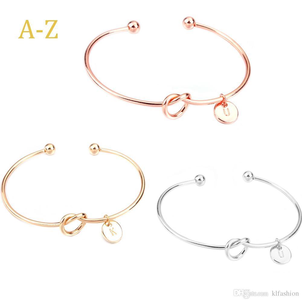 Diseño original creativo alfabeto de 26 letras iniciales pulsera nudo salvaje novias pulsera amante de la dama de honor de abrir la joyería del brazalete