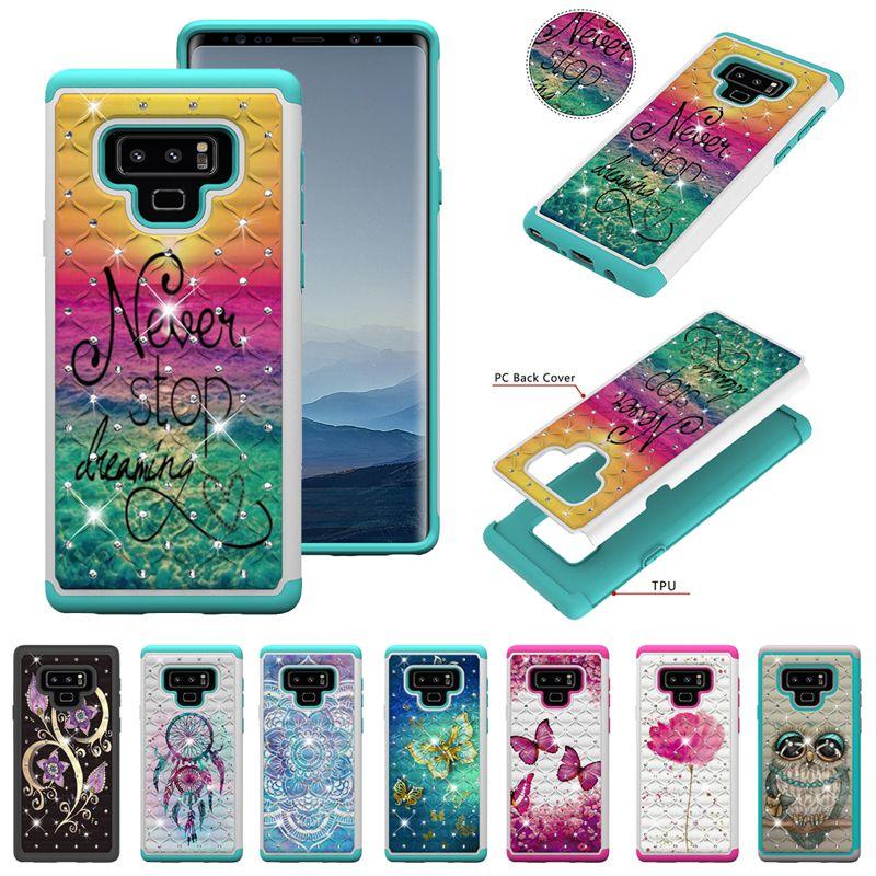 2 в 1 Diamond Hybrid Tower Цветочный корпус ТПУ ПК для iPhone XR XS Макс X 8 7 6 Samsung S8 S9 S10 Plus S10e Note 9 J3 J7 A6 2018 J5 2017 J2 Core