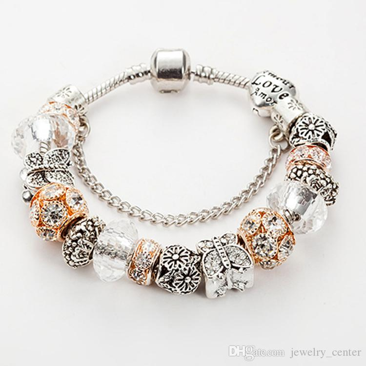 Fashion 925 Sterling Silver Plated butterfly Charms Bracelet Murano Glass&Crystal European Charm Beads for Pandora Bracelets Gift Jewelry