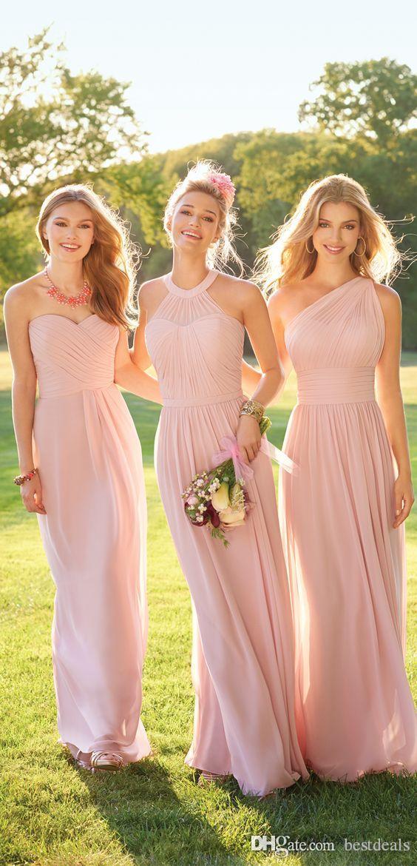 Compre 2019 Pastel Rosa Barato Largo Encaje Gasa Vestidos De Dama De Honor Estilo Mixto Blush Dama De Honor Vestido De Fiesta De Graduación Formal Con
