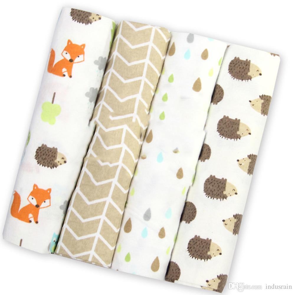 Estilos 4Pcs / Lot cobertor do bebê recém-nascido Muslin Fraldas 100% manta de algodão de gavetas para a fotografia recém-nascidos Muslin gavetas Enrole