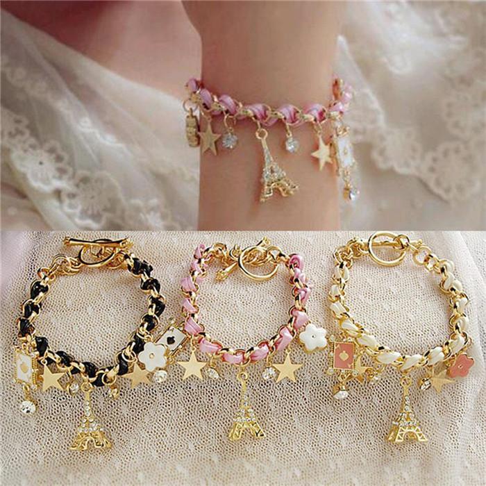 Nueva venta caliente joyería de moda Multielement cadena de oro cuerda de cuero cristal pulsera hecha a mano estrella de la torre Eiffel colgante para niñas