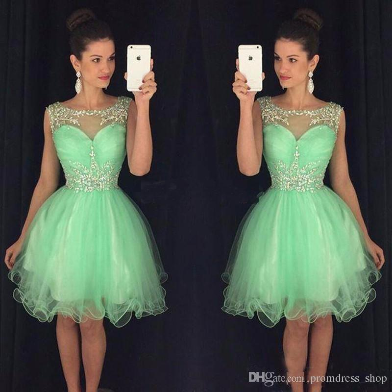 2019 New Mini Short Homecoming Dresses Crystal Beaded Sweet 16 Graduation Dresses Little Chiffon Short Cocktail Dress Prom Party Gowns