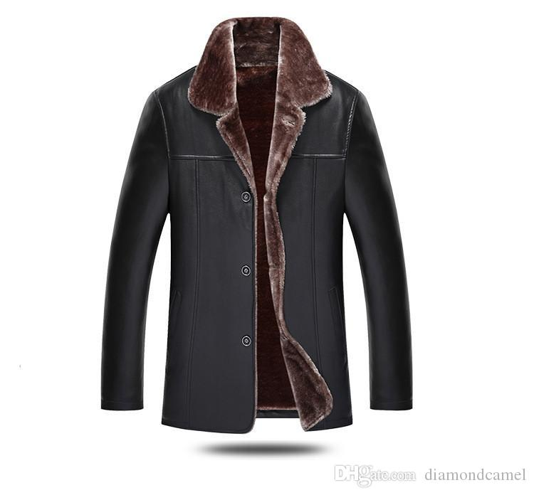 Fur similpelle cappotto di pelliccia risvolto semplice pulsante Anorak addensare Integrazione Pure Color cappotto degli uomini collo di modo V tasca interna Clothes