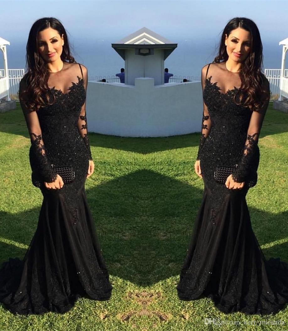 Schwarz plus size Hochzeits Sexy arabische Illusion SpitzeAppliques wulstige Nixe mit langen Ärmeln formale Abendkleider HY380