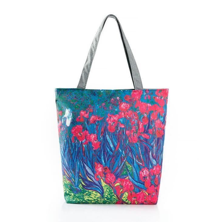 Heißer verkauf modelle ölgemälde blumen digitaldruck tuch schulter tragbare handtaschen blumen schulter einkaufstasche retro leinwand tasche