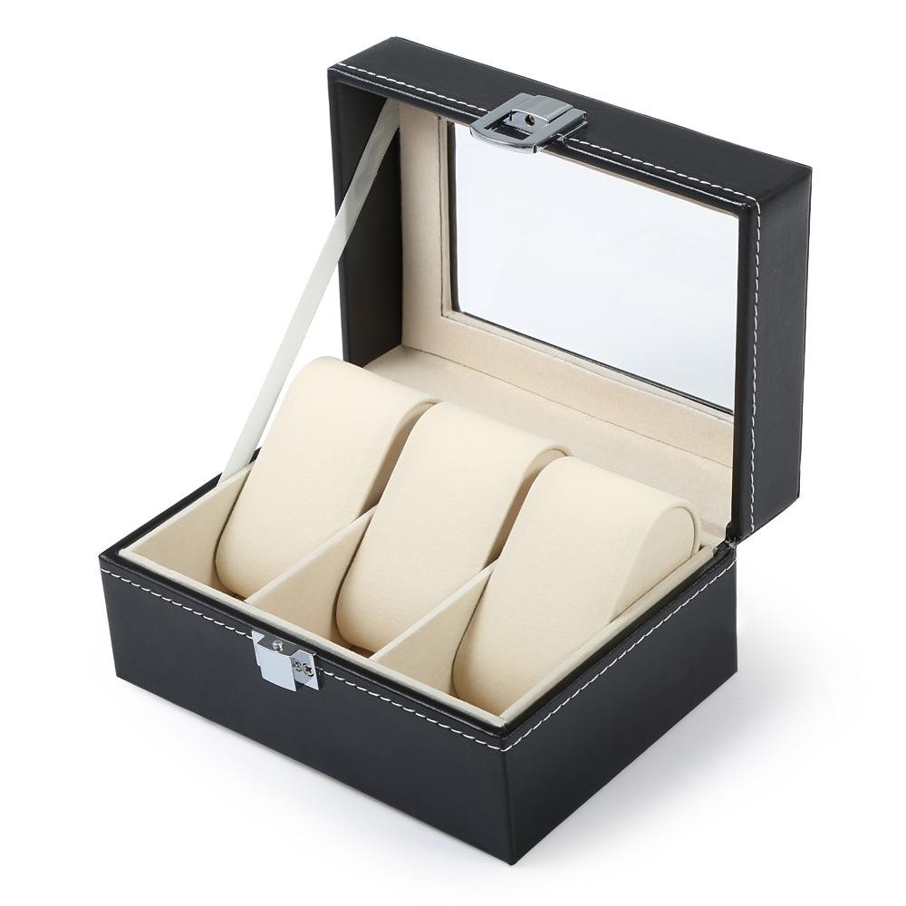 Luxe Montre Boîte 3 Grilles Slots PVC Etui En Cuir Bijoux Organisateur De Stockage Élégant Montres Collection cadeaux Organisateur caja reloj
