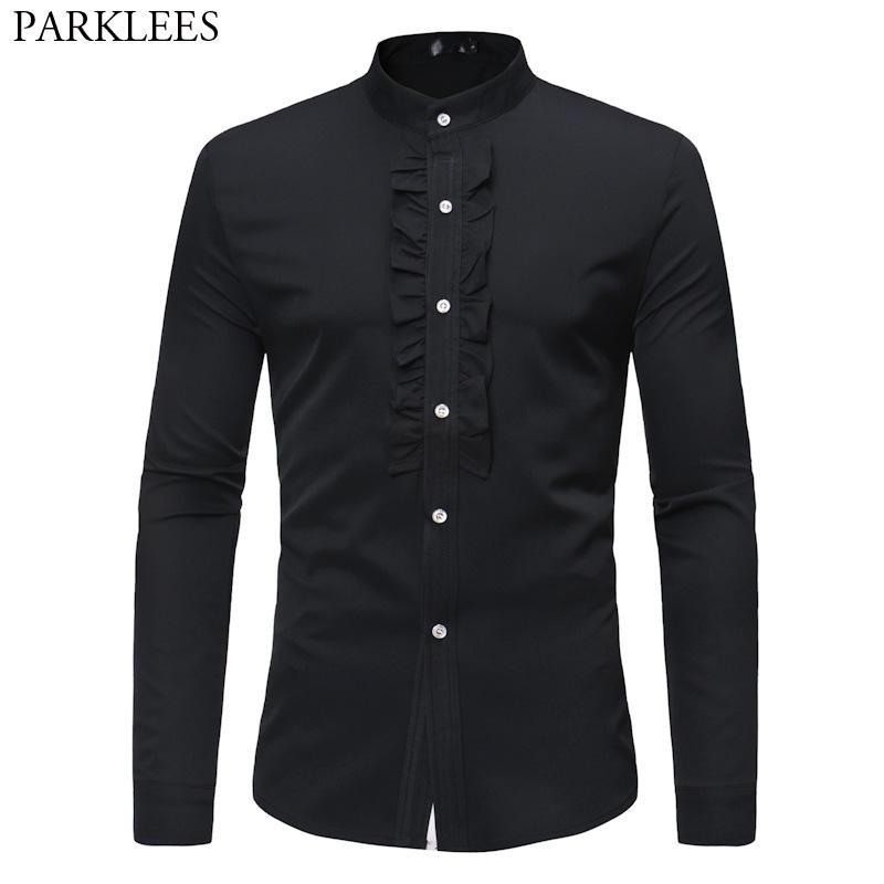 Mens Hipster Ruffle Mandarin Collar Dress Shirts Slim Fit Long Slevee Tuxedo Shirt Men Dinner Wedding Married Groom Shirt Male