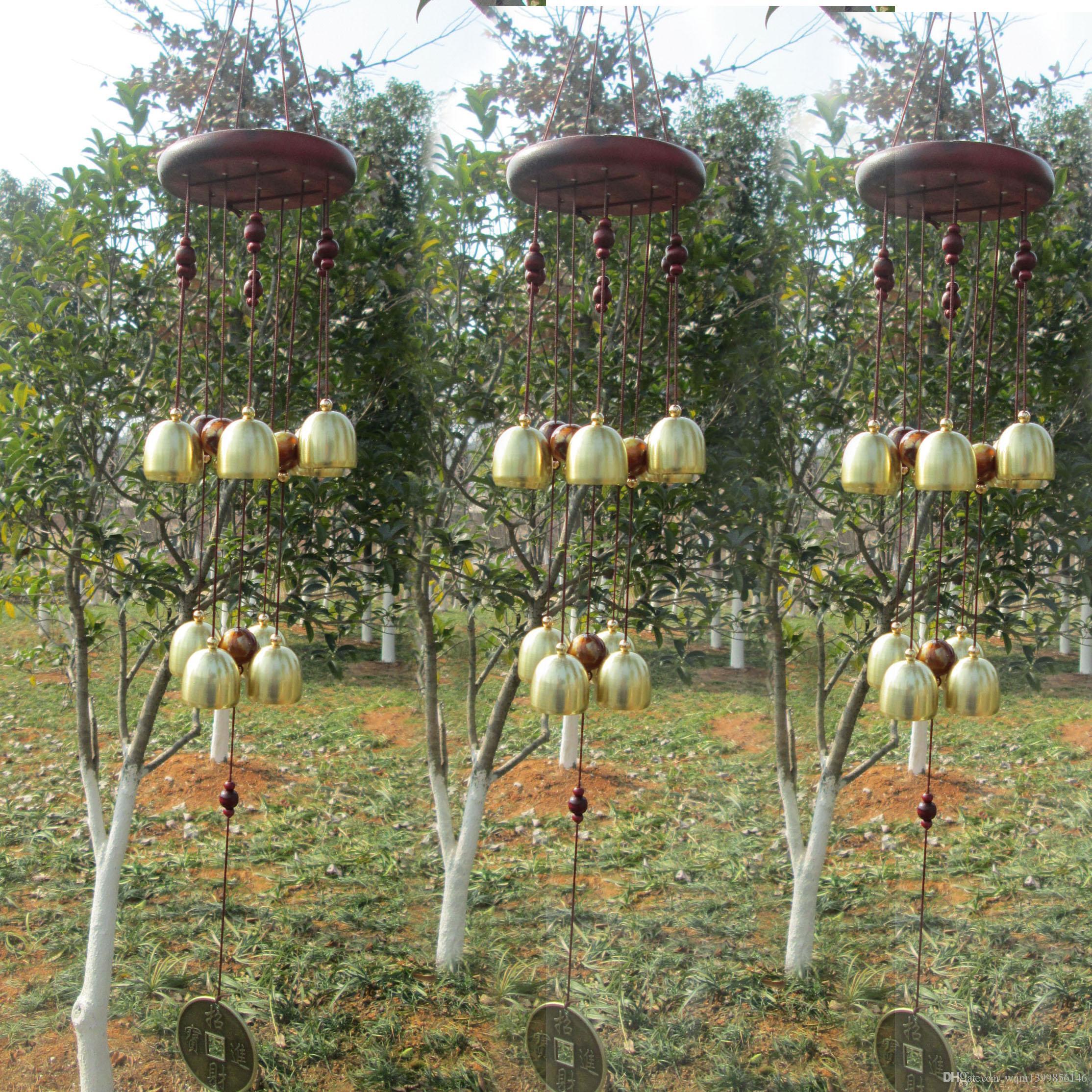 1 PCS Antique Incroyable 10 Cuivre Bell Carillons À Vent En Plein Air Jardin Windchime Hanging Home Window Décoration