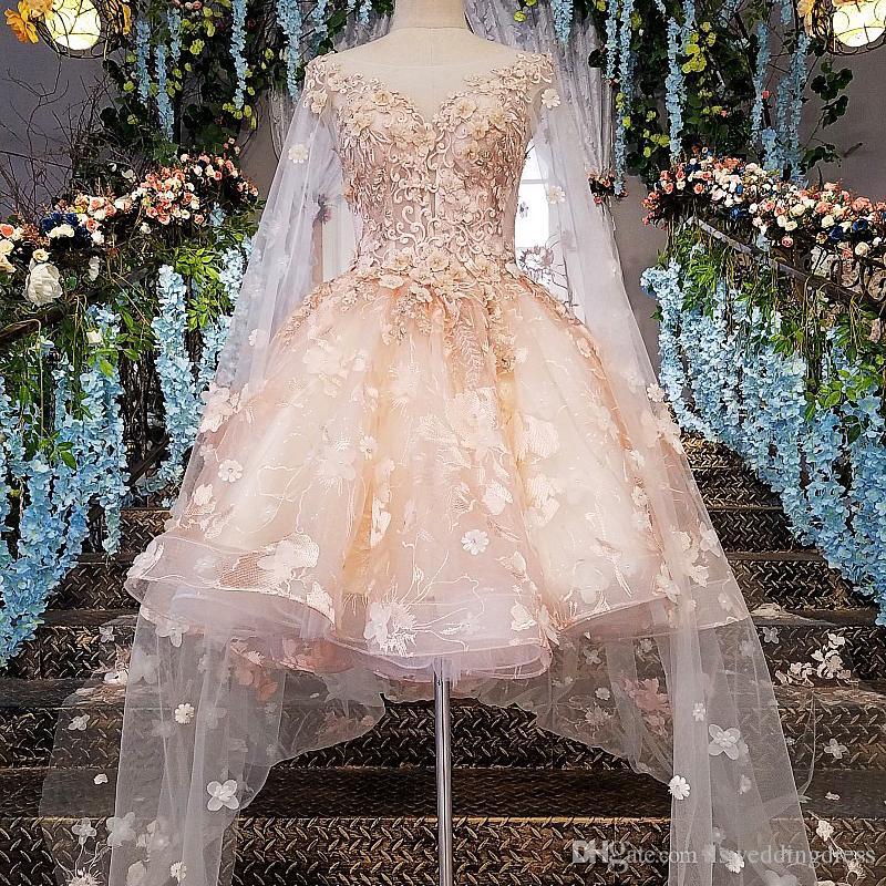 2019 Más nuevo diseño Vestido de noche Corto de encaje Cremallera Volver Rosa Encaje Vestido de fiesta Fiesta con largo cabo Fotos reales Apliques Vestido de mujer Occsion