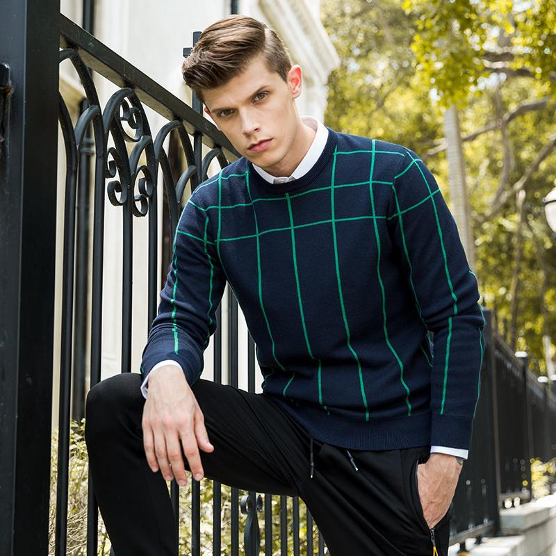 2017 Yeni Kazak Erkekler Kazak Marka Giyim Erkek Kazak Çekin Homme Geyik O-Boyun Rahat Tam Pamuk Bahar Üst Moda ile