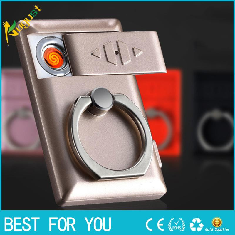 Tragbare ring mobile halterung usb elektronische leichter winddicht wiederaufladbare leichter multifunktions zigarettenanzünder geschenke für männer