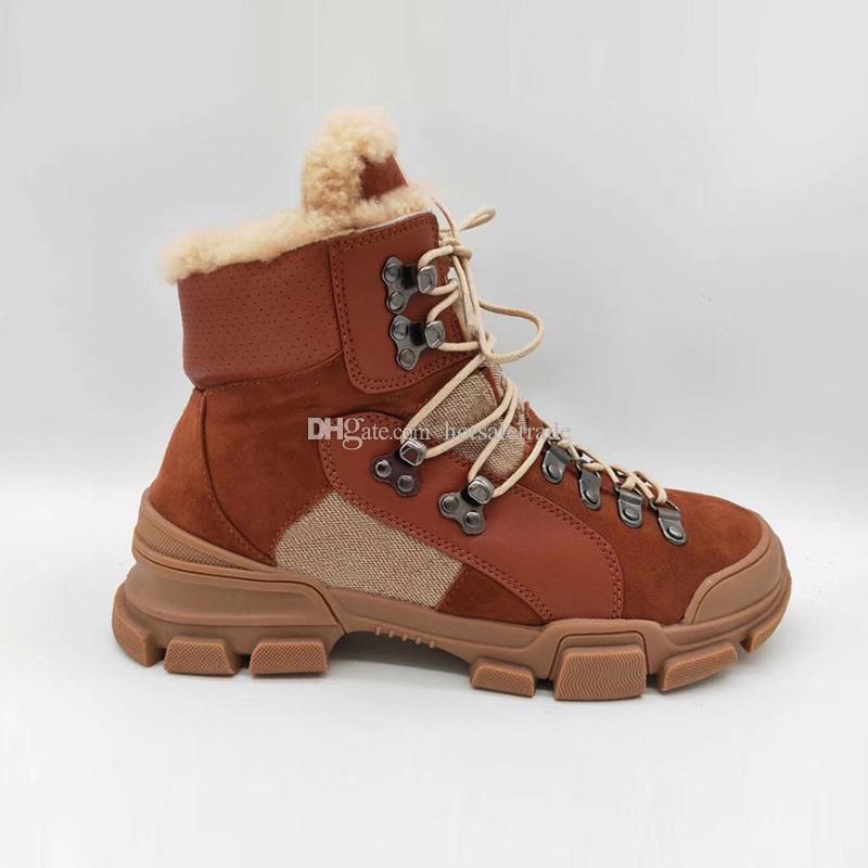 Flashtrek Ankle Boots 남성 스니커즈 겨울 부츠 화이트 / 브라운 / 블랙 Chunky 구두 마틴 부츠 패션 야외 신발 상자