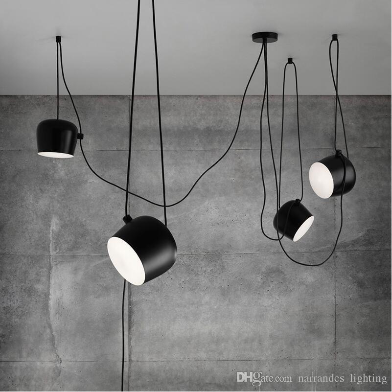 FUMAT Современная творческая мода DIY AIM LAMP на крытый освещение акриловая крышка белый черный железный оттенок подвесной свет кафе подвеска светильника светильника