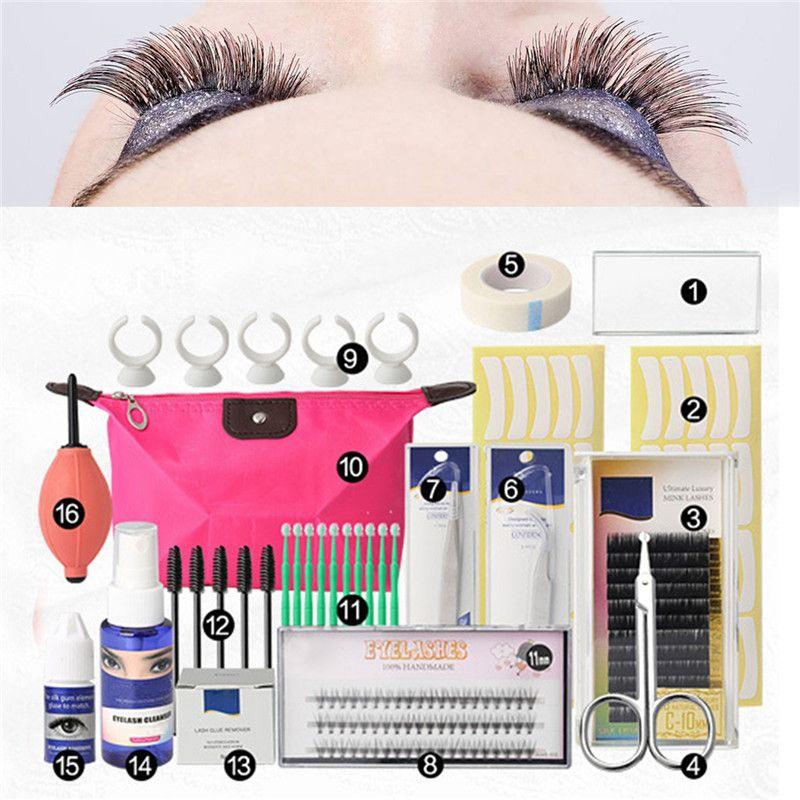 16 Pcs False Eyelash Extension Tools Set Makeup Tools Kits Professional Individual Eye Lashes Grafting Kit Set Bag