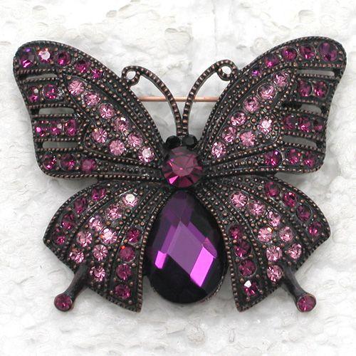 Venta al por mayor de cristal de diamantes de imitación de la mariposa broches de moda Pin broche de regalo de la joyería C2009