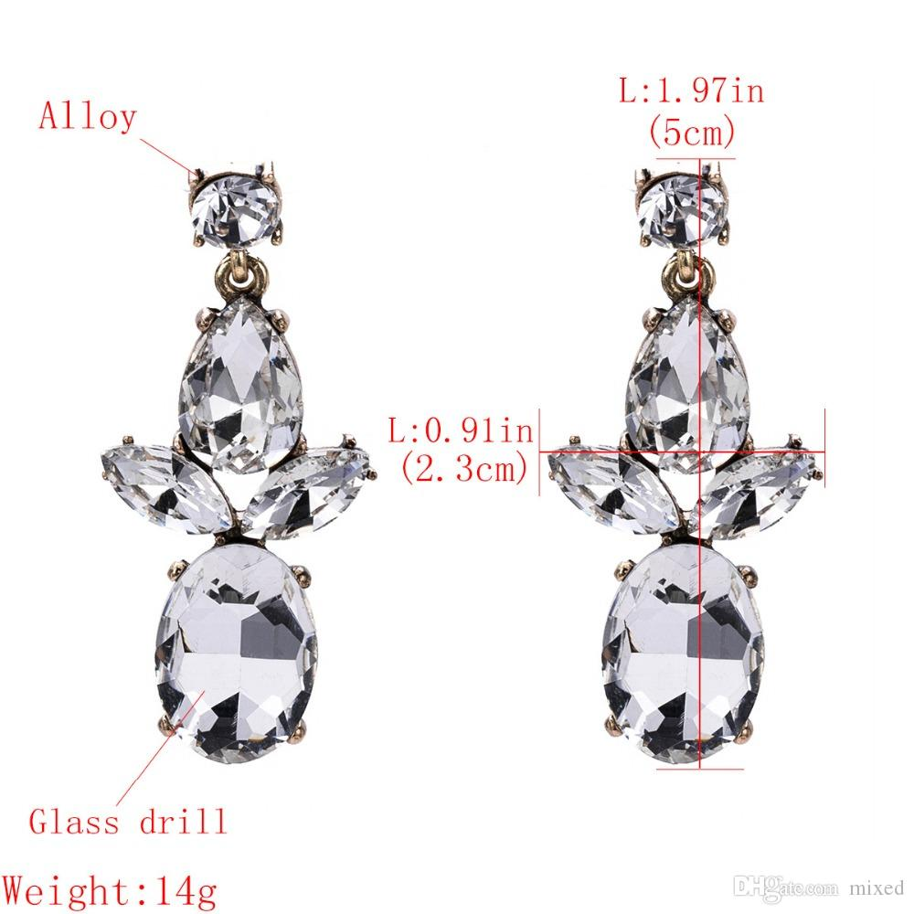 Роскошные серьги для женщин Rhinestone Drop Dangle Earring 2018 Модные свадебные модные свадебные украшения
