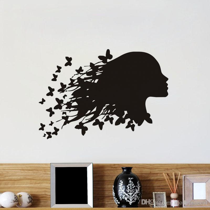 Butterflies Girl Wall Stickers For Interior Decorative Adhesives Wall Tile Stickers Beauty Salon Vinyl Art Decals