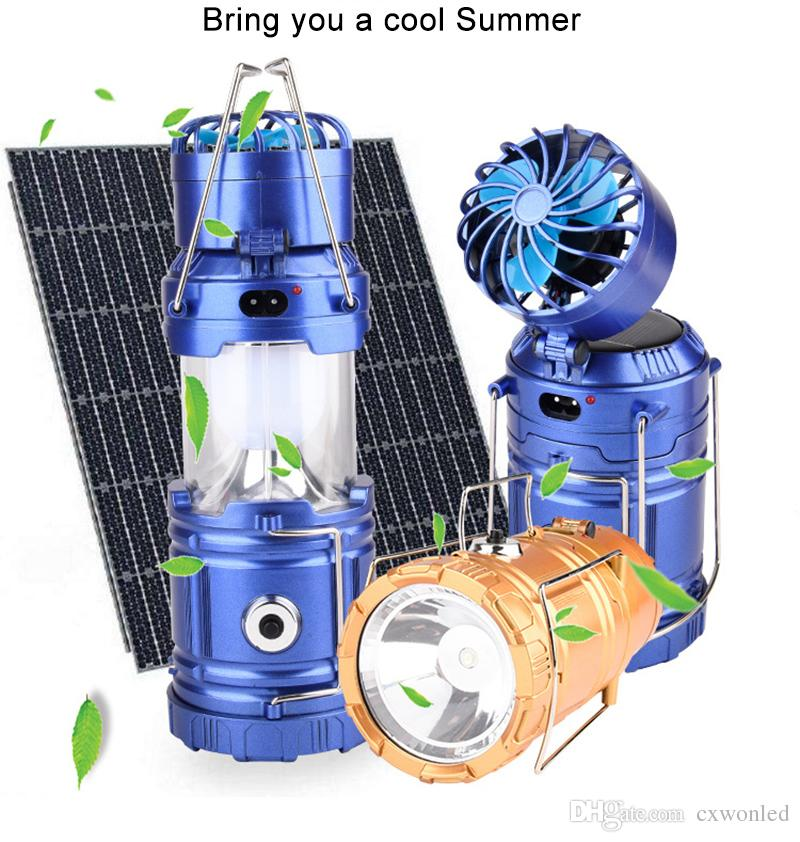 Camping Light Solar Rechargeable Outdoor Fan Multi-function LED Camping Light Portable Emergency Hand Tent Lamp Flashlight